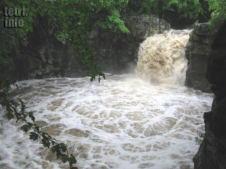 A waterfall on the Chivchavi river near Tetri Tskaro at the time of rain